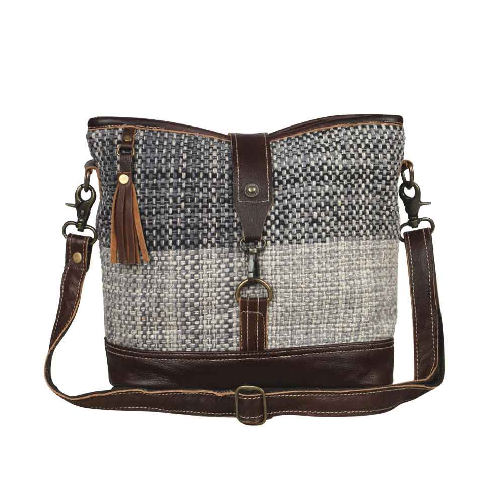 Rough Textured Shoulder Bag Front View Myra Bag Harley Butler Trading Company