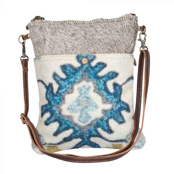 Bewitching Hues Crossbody Bag with eye-catching blue pattern from Myra Bag