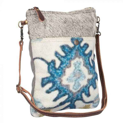Bewitching Hues Crossbody Bag with eye-catching blue pattern from Myra Bag angled view