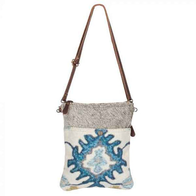 Bewitching Hues Crossbody Bag with eye-catching blue pattern from Myra Bag with extended strap