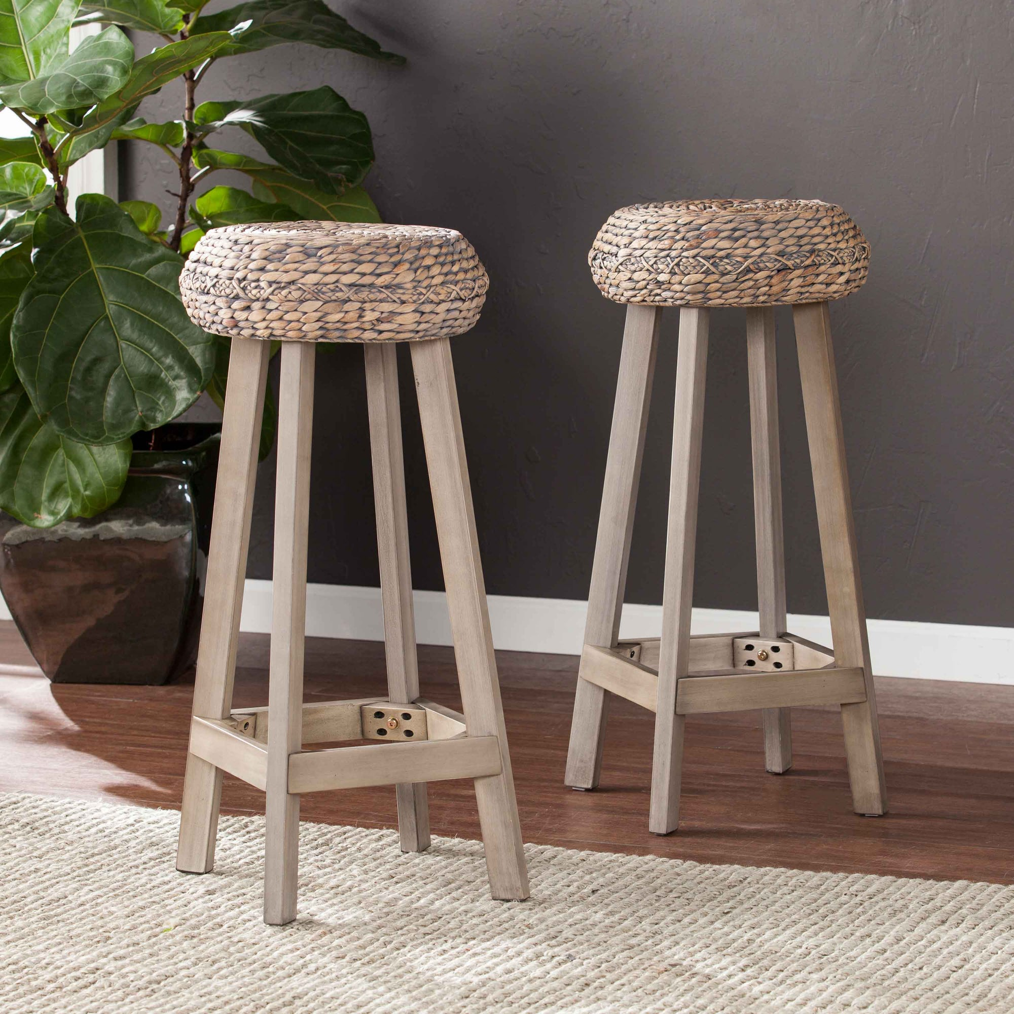 Rutina Round Backless Bar Stools 2PC Set Southern Enterprises