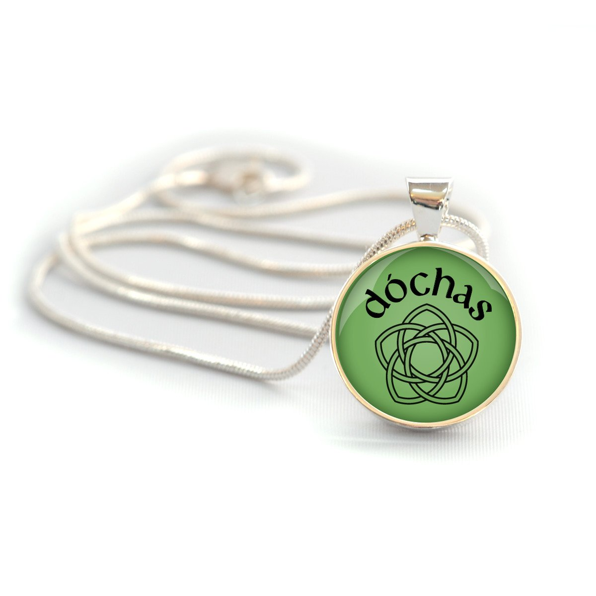 Irish necklace with word for Hope on green background and silver-plated brass bezel