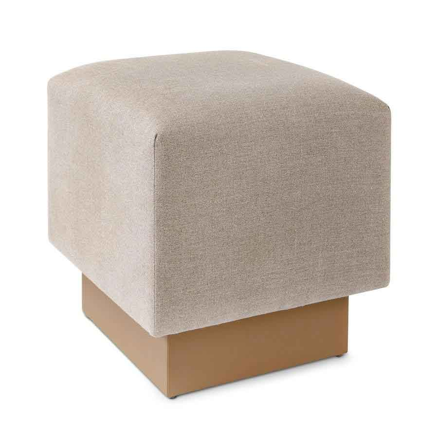 Austin Cube Ottoman in Slubby Linen Linen and Cal Sandstone Base from Square Feathers