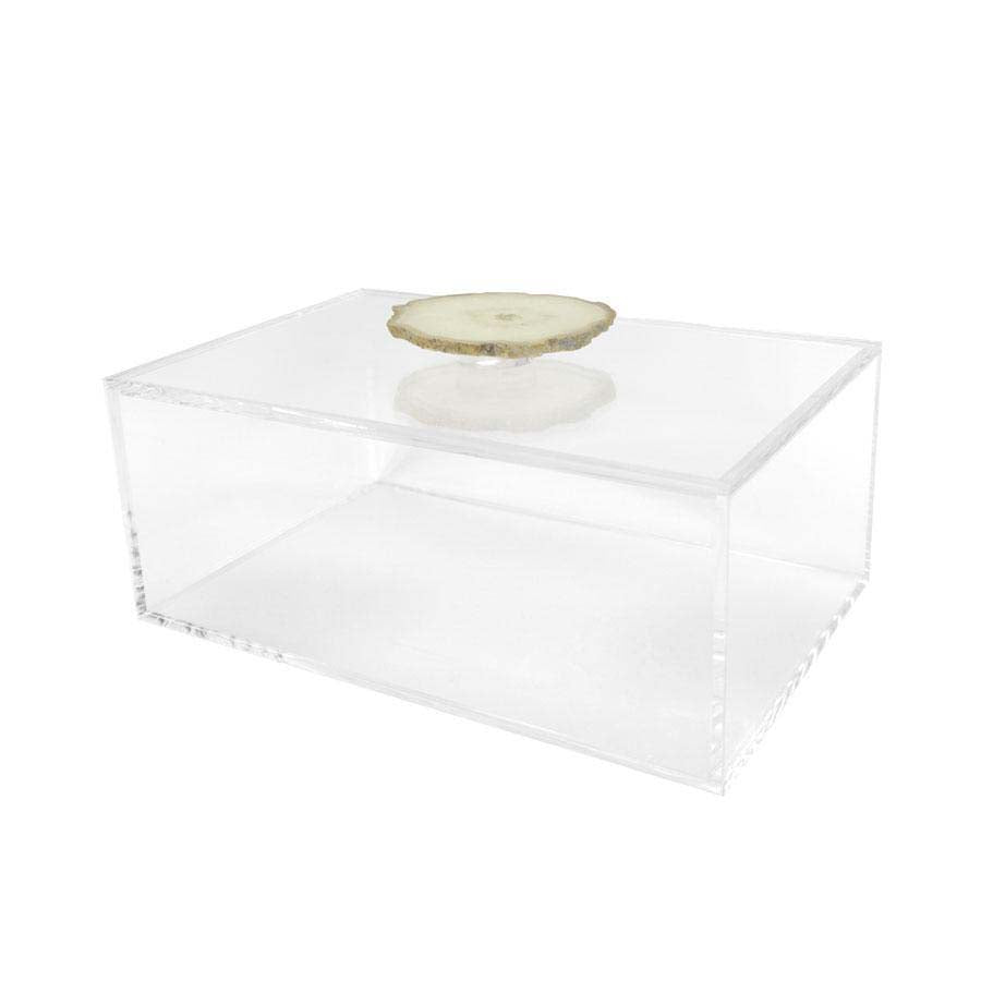 Clear Box with Agate Handle Square Feathers