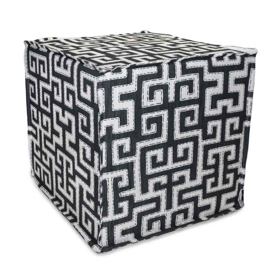 Carey Cube Ottoman in Uptown Maze Square Feathers