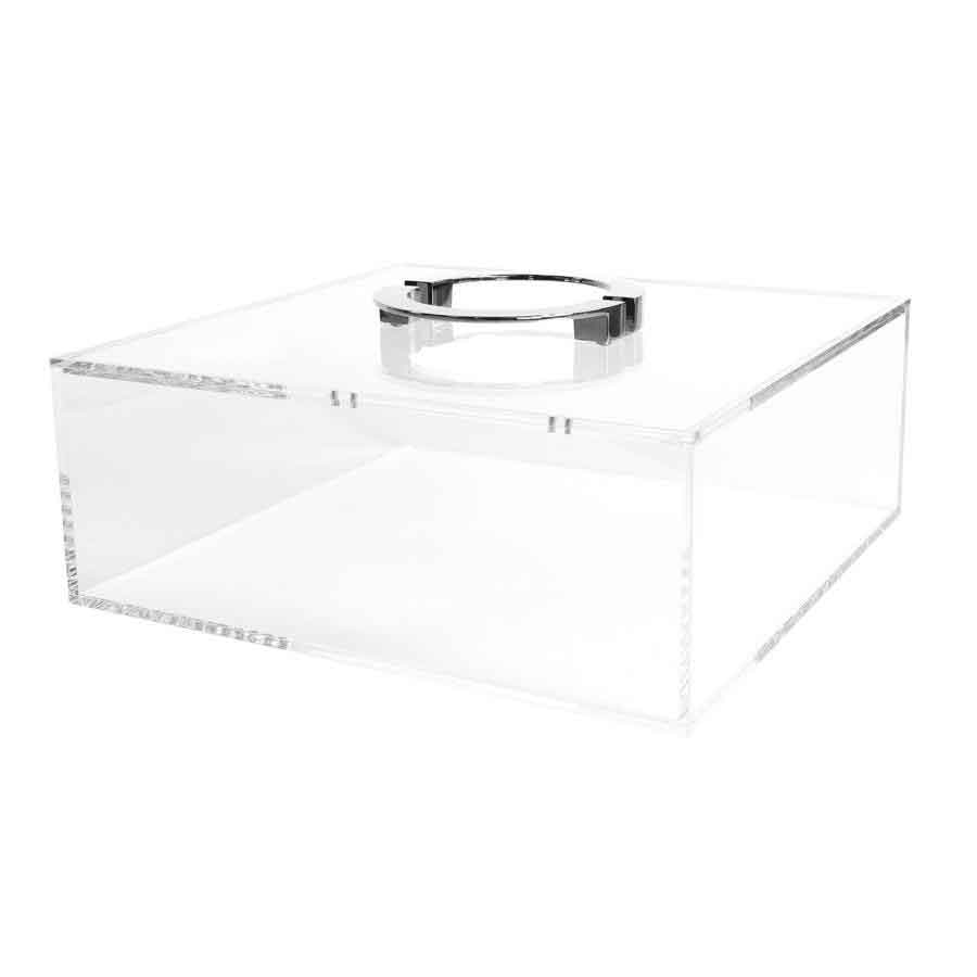Clear Box with Chrome Colored Handles Square Feathers
