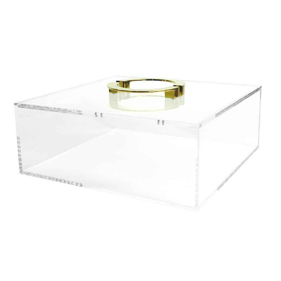 Clear Box with Gold Circle Handles Square Feathers
