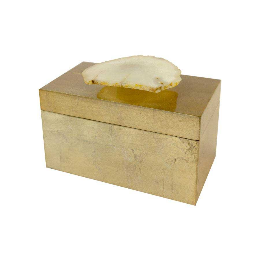 Gold Lacquered Box with Agate Handle Square Feathers