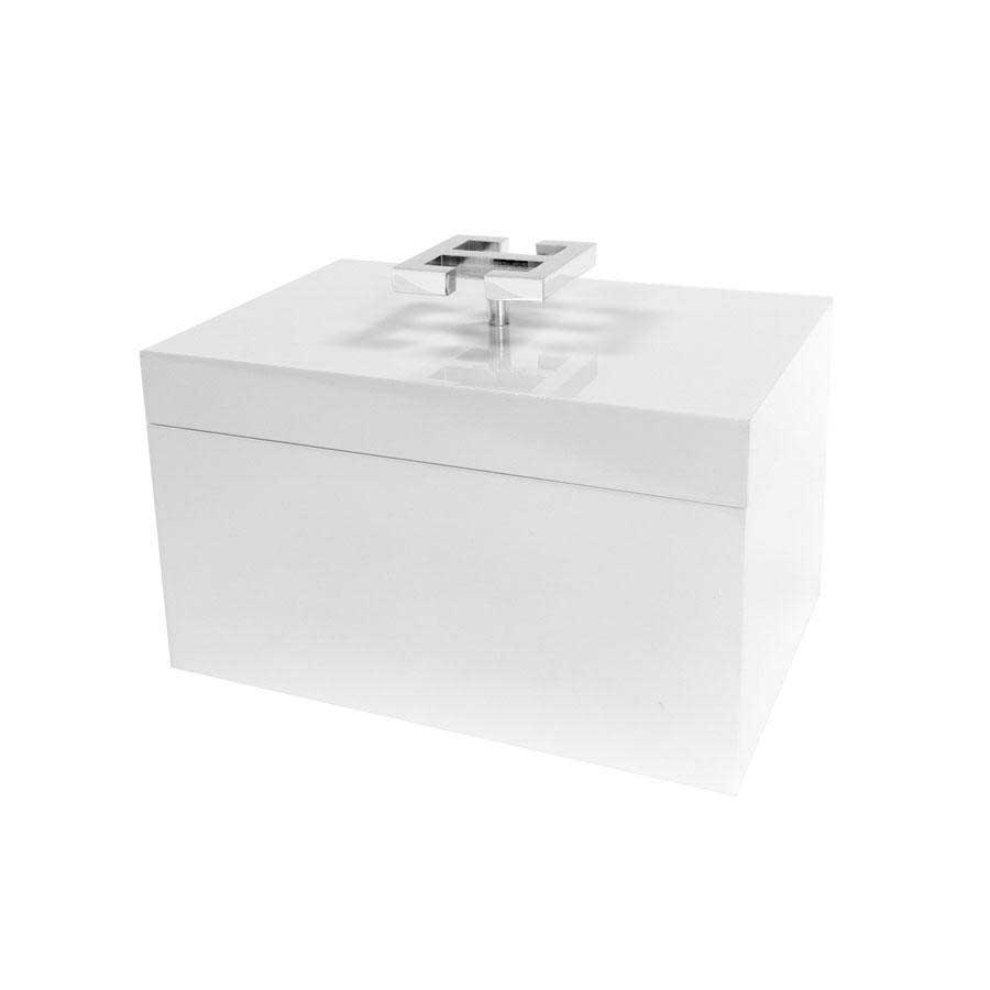 White Lacquered Box with Chrome Greek Handle Square Feathers