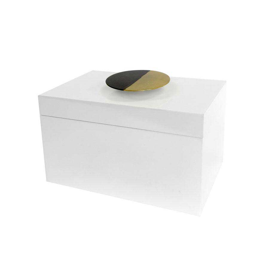 White Lacquered Box with Dipped Metal Handle Square Feathers