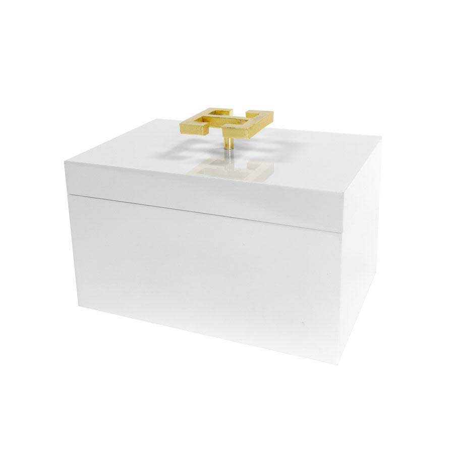 White Lacquered Box with Gold Greek Handle Square Feathers