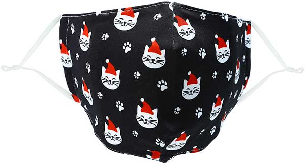 Santa Cat holiday adult face mask with smiling cats in caps