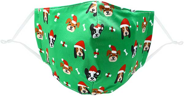 Santa Dog adult holiday mask with dogs in red caps
