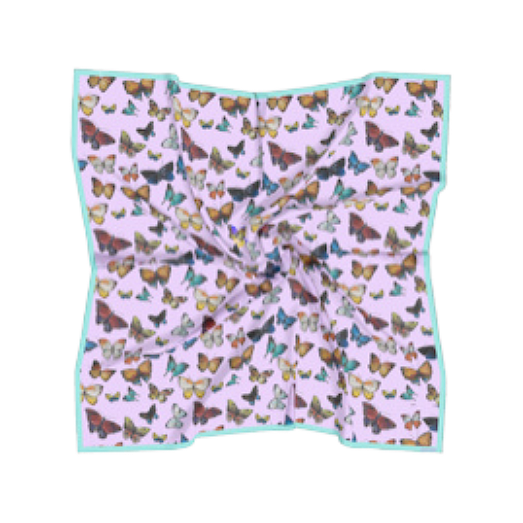 Butterflies Pink silk scarf with a variety of colorful butterflies from Laura Park Designs