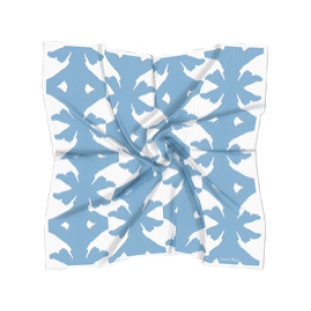 Carolina Blue Silk Scarf with blue pattern on white field from Laura Park Designs