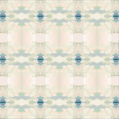Coral Bay Pale Blue Divet Cover with soft blues and greens from Laura Park Designs pattern swatch
