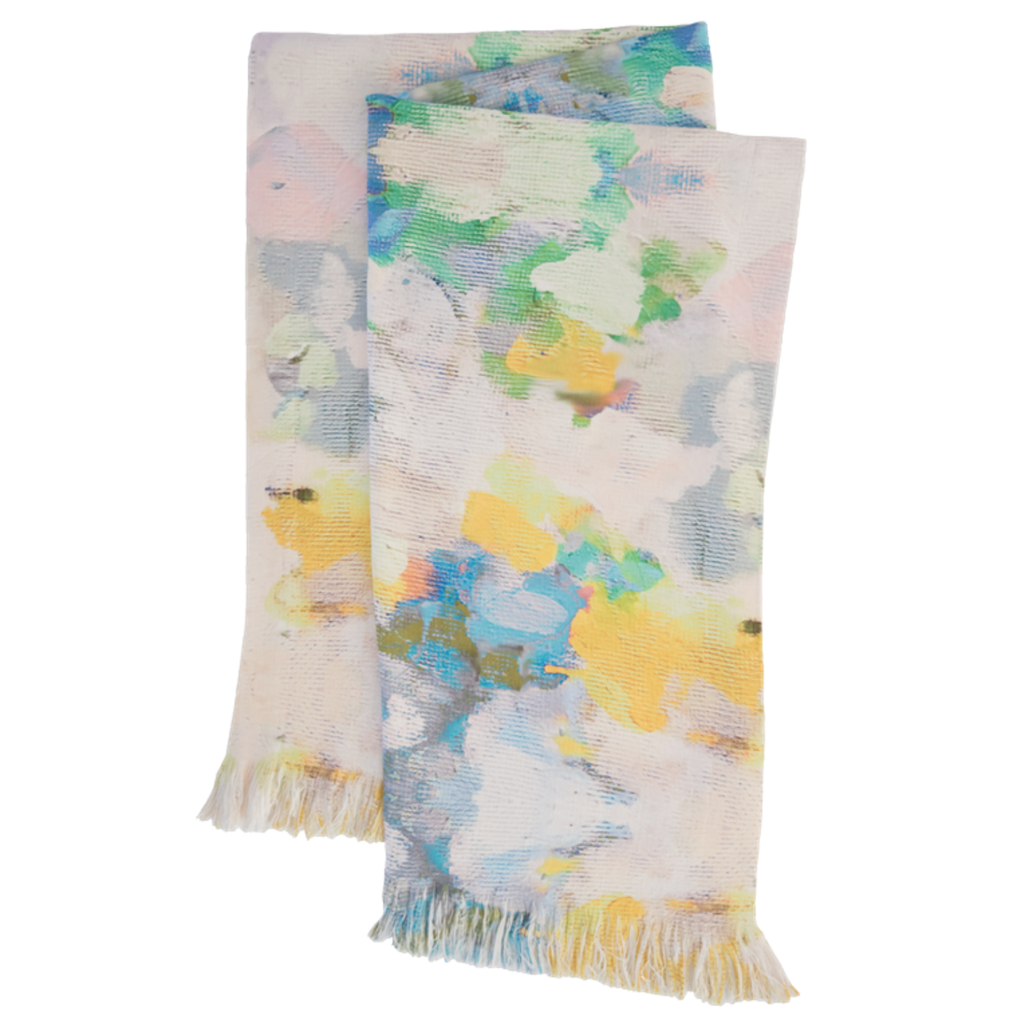 Butterfly Garden throw blanket in vivid blue, yellow and green from Laura Park Designs