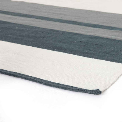 Senna Navy & Cream Outdoor Rug stripes Four Hands rug and edge detail
