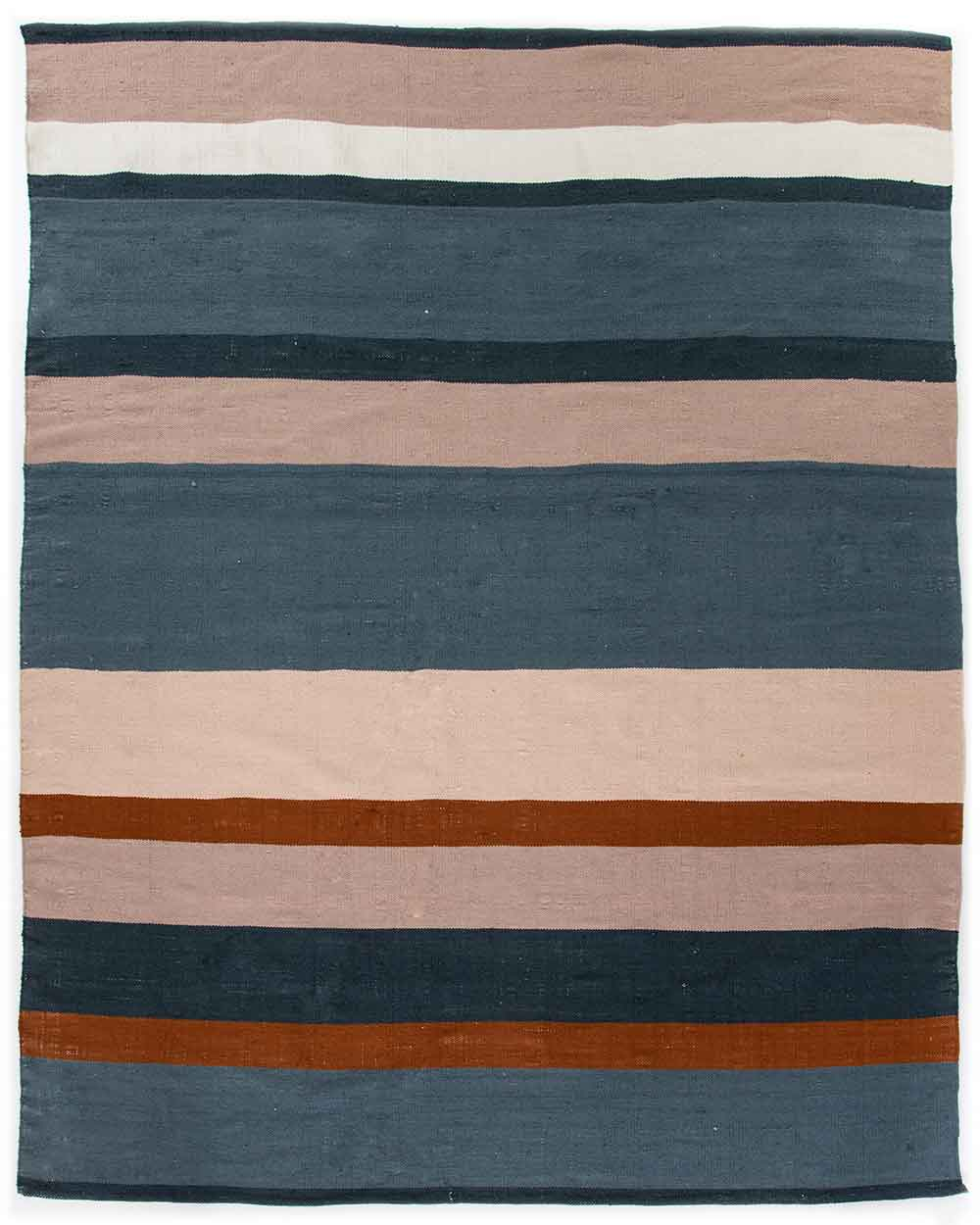 Senna Navy Outdoor Rug orange and blush stripes Four Hands product image