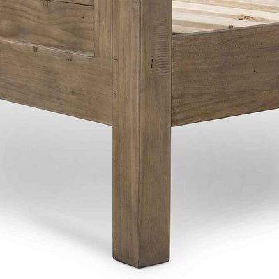 Settler Platform bed from reclaimed Ash fomr Four Hands  footboard and side rail detail