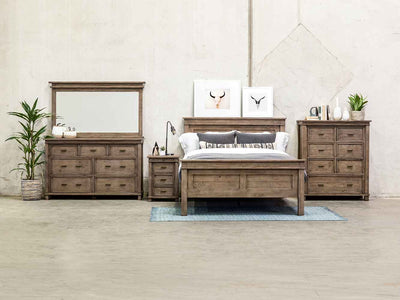 Settler Platform bed from reclaimed Ash fomr Four Hands  bedroom suite