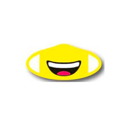 Deco Mask Smiling Emoji yellow smiley face covering stretches for snug fit
