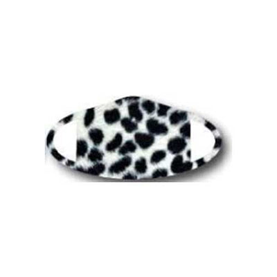 Deco Mask Snow Leopard black spots on white face covering stretches for snug fit