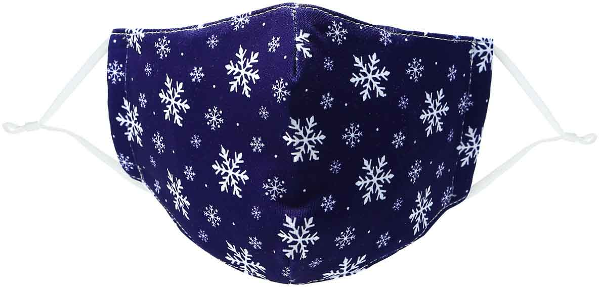 Snowflakes kid's face mask with snwoflakes on blue background