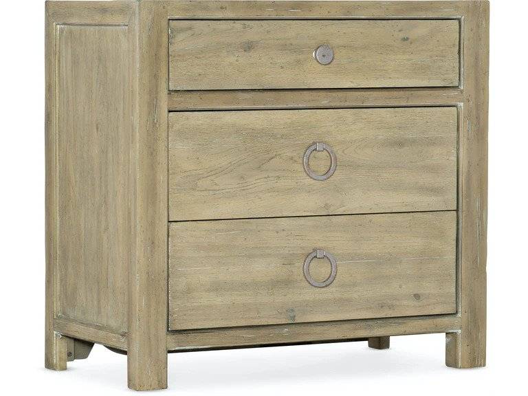 Surfrider Three Drawer Nightstand in light wood finish from Hooker