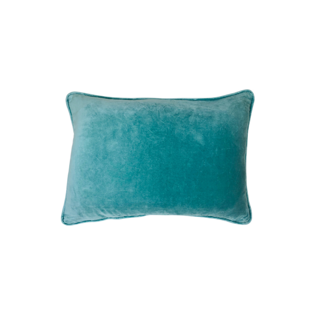 Teal Blue Velvet Pillow from Laura Park Designs, lumbar