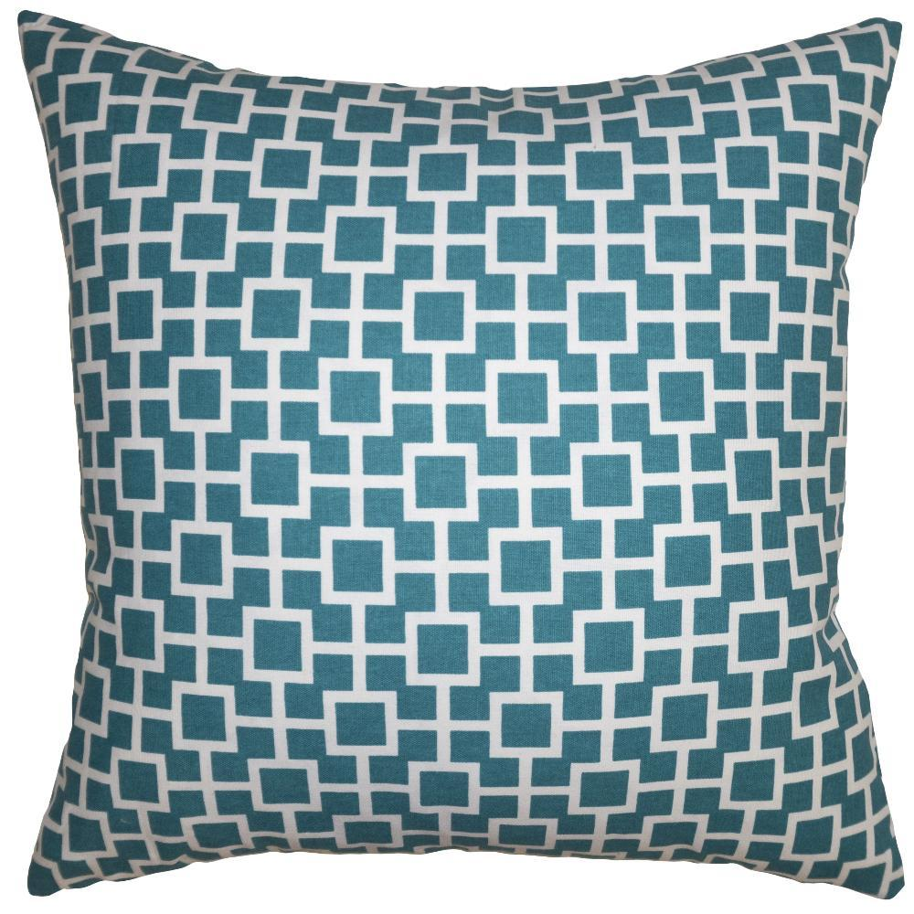 Teal Chain throw pillow mesmerizes you with its white geometric pattern on a teal field