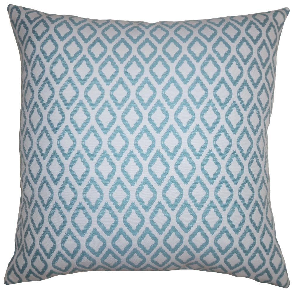 Teal Diamonds throw pillow adds a geometric dimension with a teal diamond pattern by Square Feathers