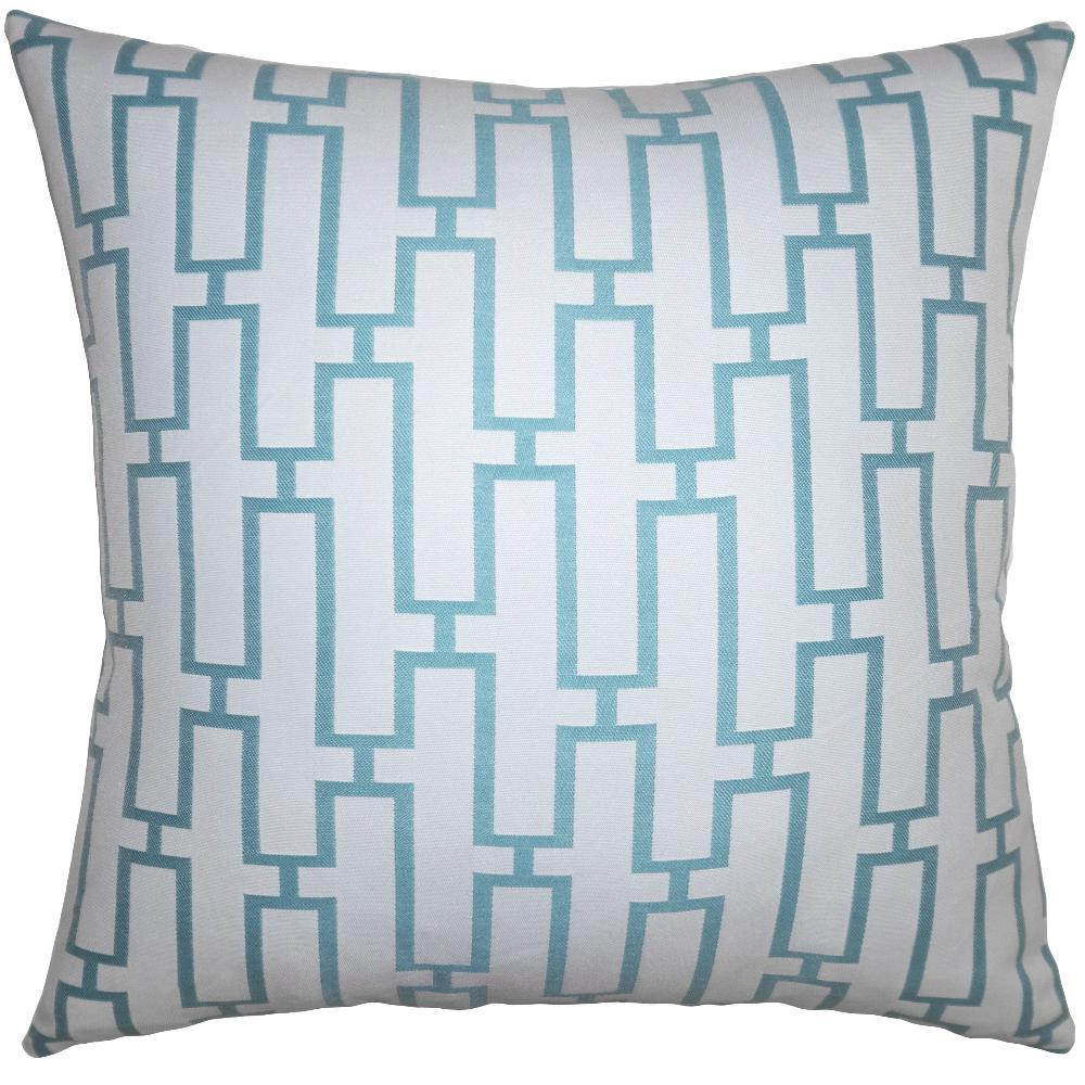 Teal Maze throw pillow adds an geometric dimension with its maze teal pattern by Square Feathers