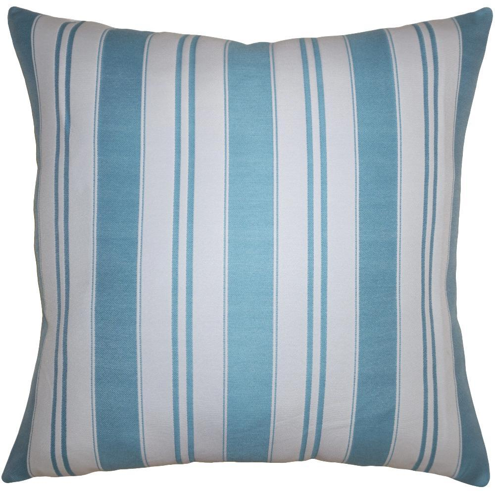 Teal Stripe throw pillow adds linear dimension with varying width stripes in teal by Square Feathers