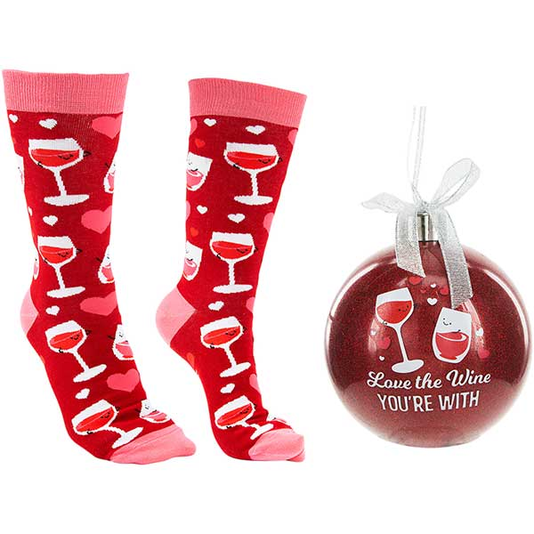 Love The Wine You're With Christmas socks and ornament product image