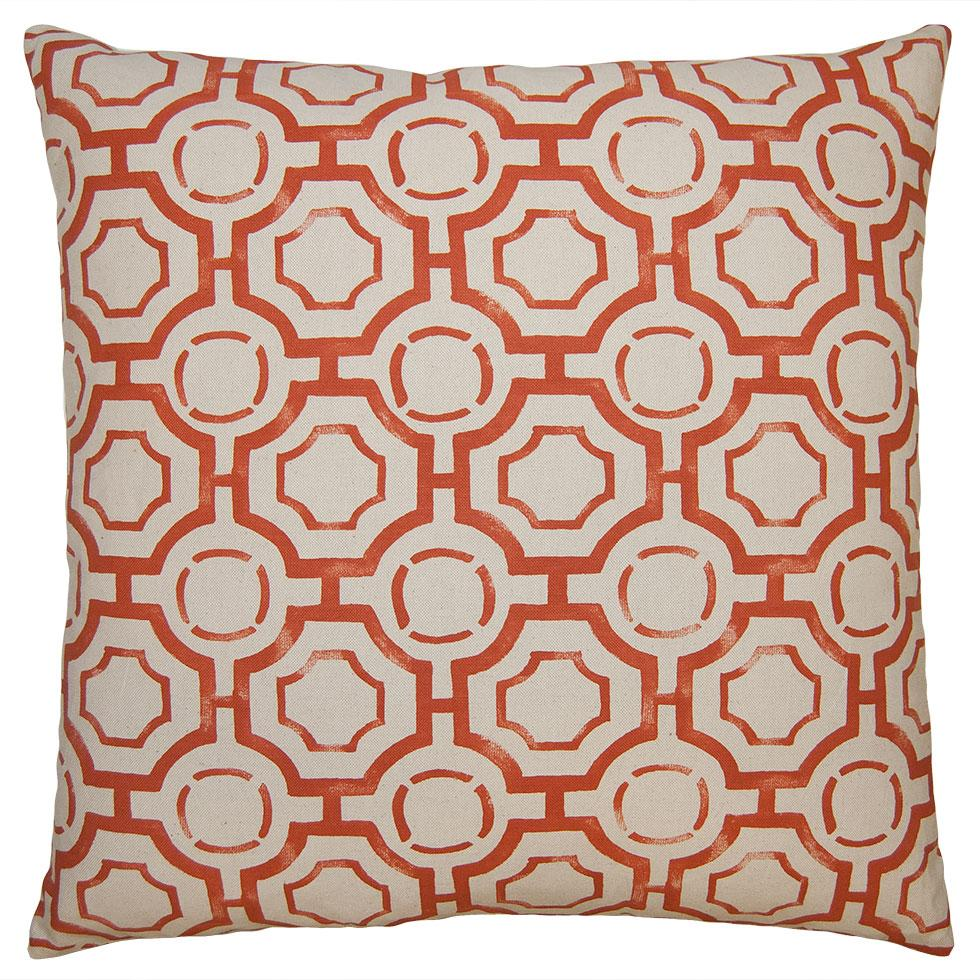Tulum Fortress throw pillow patterns in red appear handpainted, giving it a casual, informal look