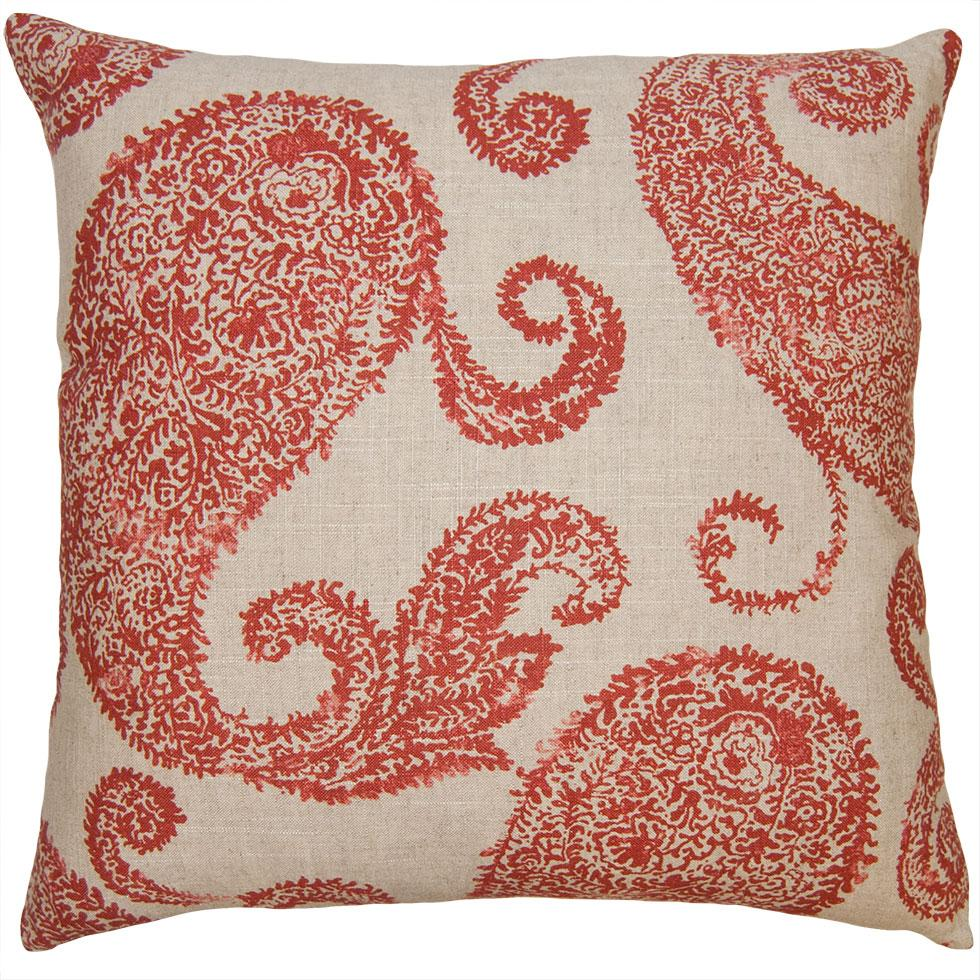 Tulum Paisley throw pillow with a red paisley pattern on an off-white field from Square Feathers