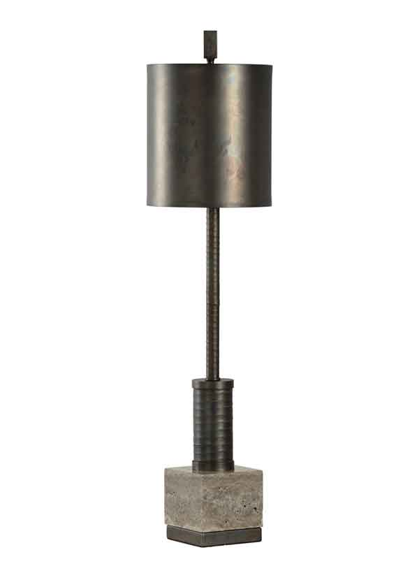 Circuit Lamp in iron and marble with scorched bronze finish from WIldwood