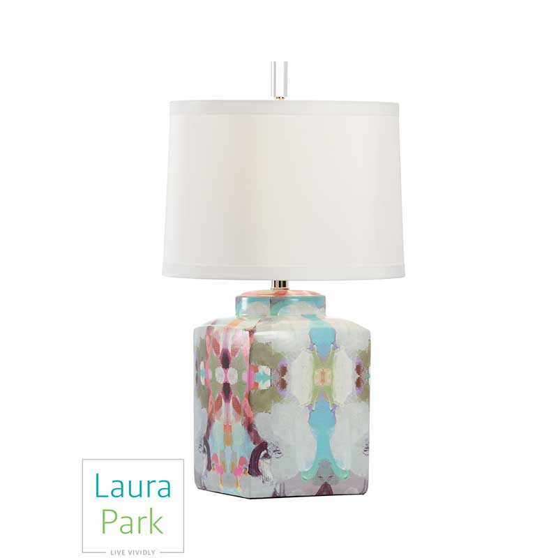 Summer Garden Red Lamp by Laura Park Designs abstract color table lamp