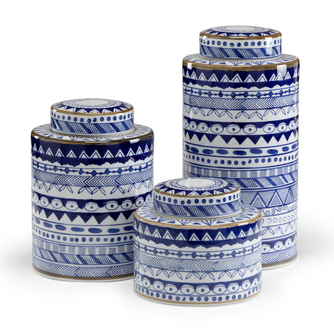 Blue and White Canisters Wildwood Ceramic Set of 3