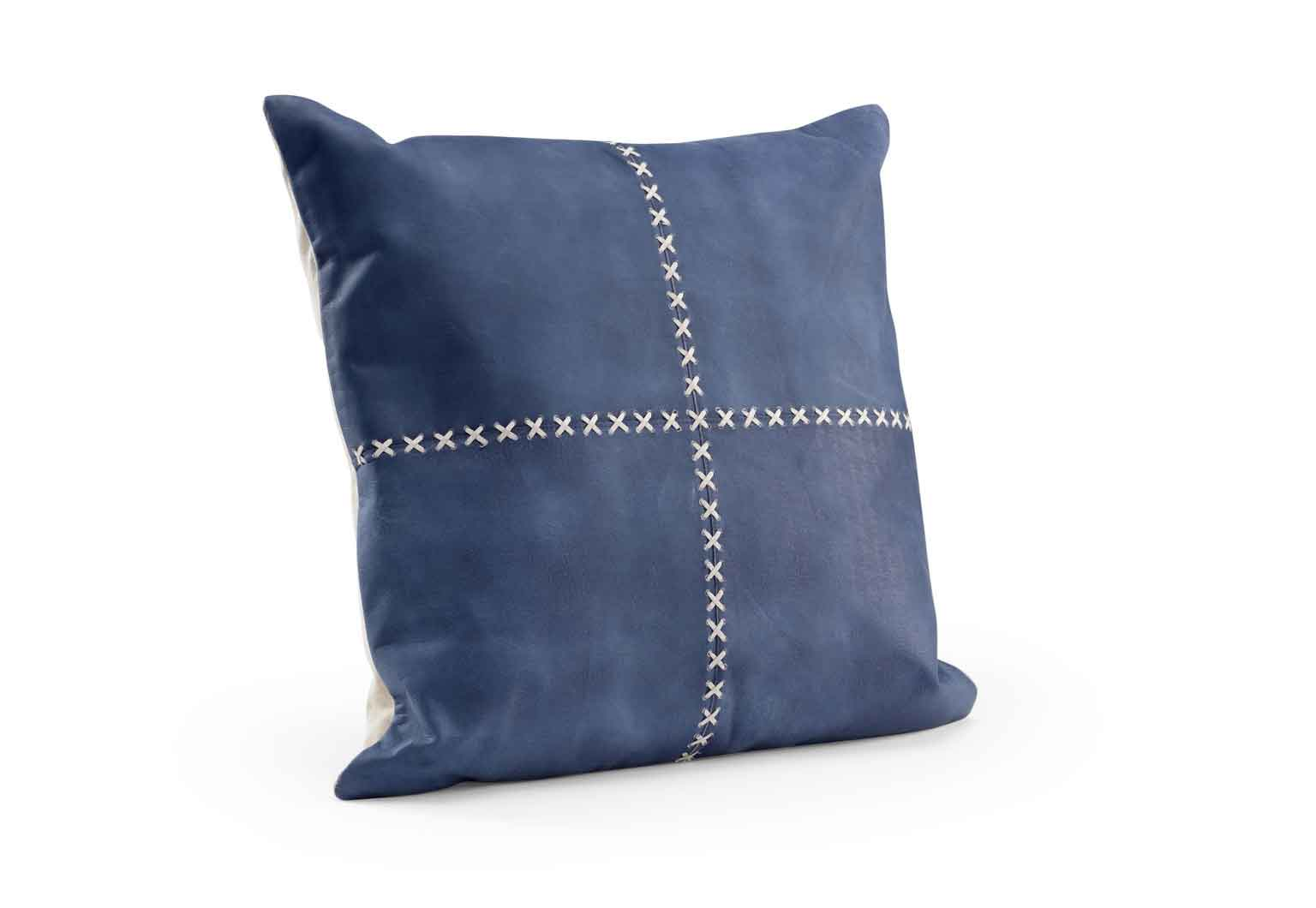 Laredo Pillow in Blue Suede Cream Leather Lacing Wildwood