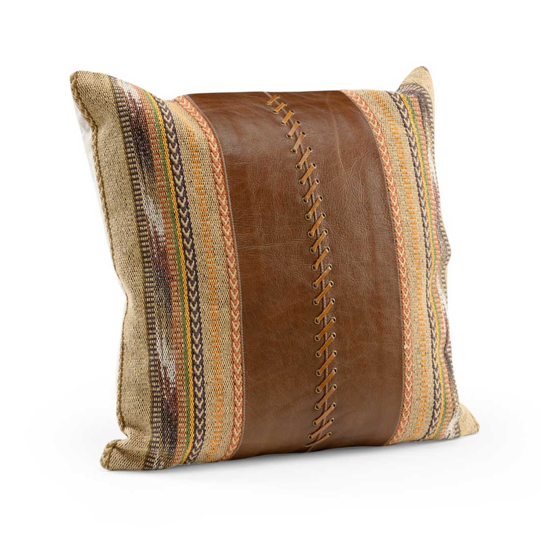 Cheyenne Pillow Rustic Leather and Fabric Wildwood Large