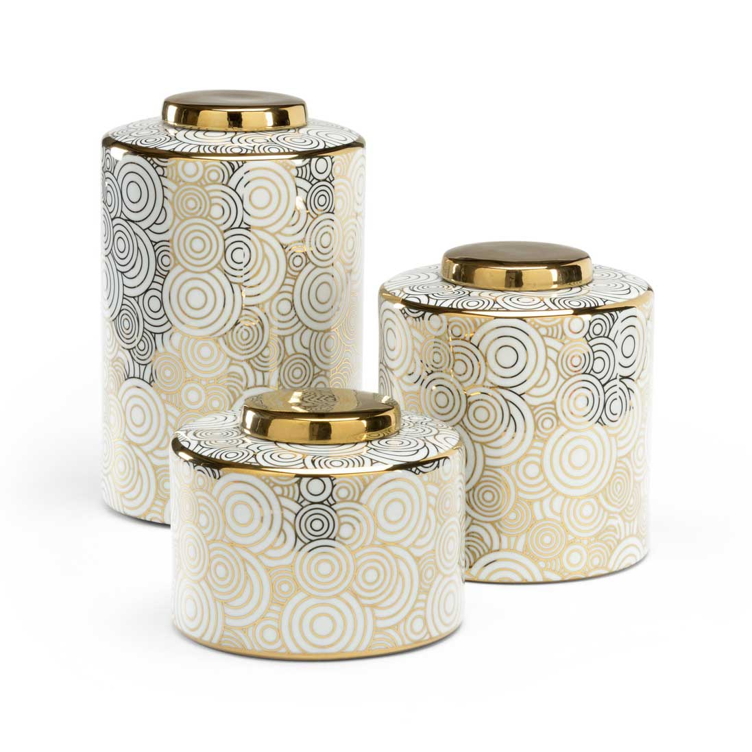 Burbank Canister Set of 3 Ceramic White Glaze Wildwood