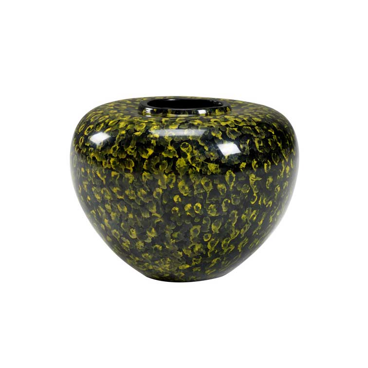 Oval Jar with Yellow Brush Dabs Wildwood Home Handmade