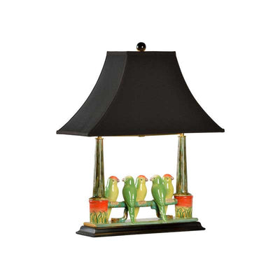 Budgies Table Lamp Kids Room Decor Birds on a Fence Wildwood Home Black Shade