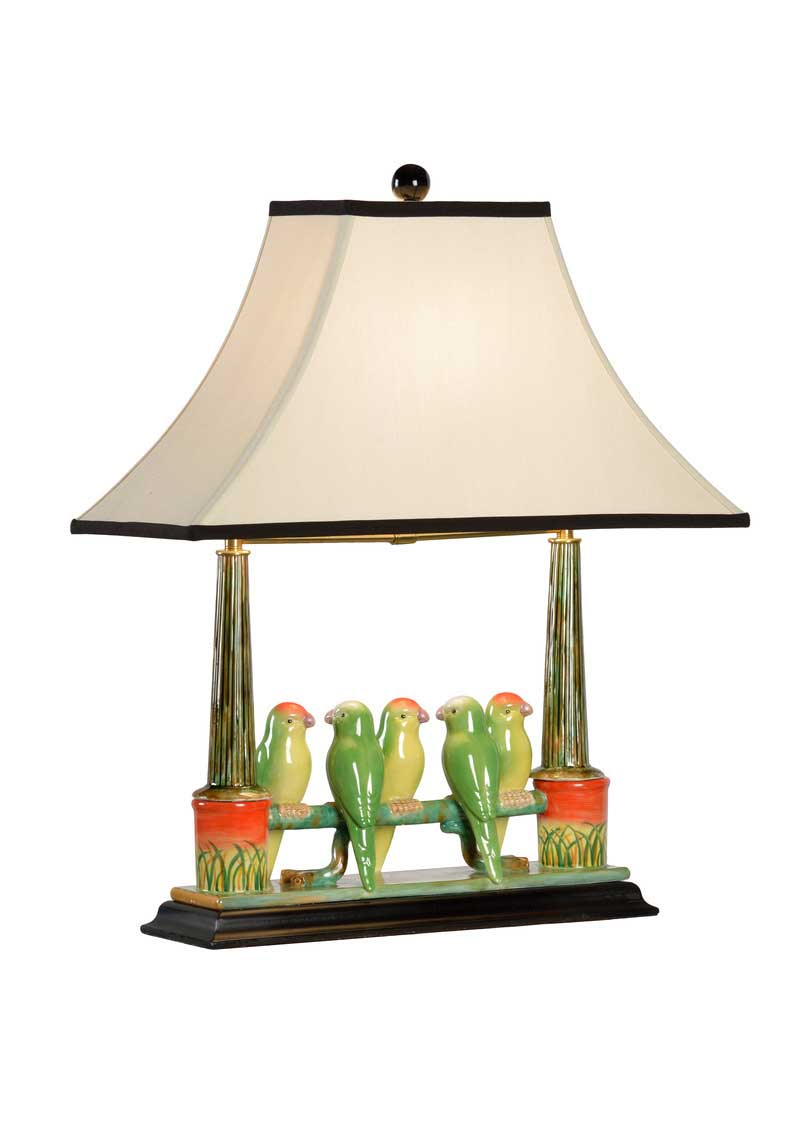 Budgies Table Lamp Kids Room Decor Birds on a Fence Wildwood Home Light Tan Shade