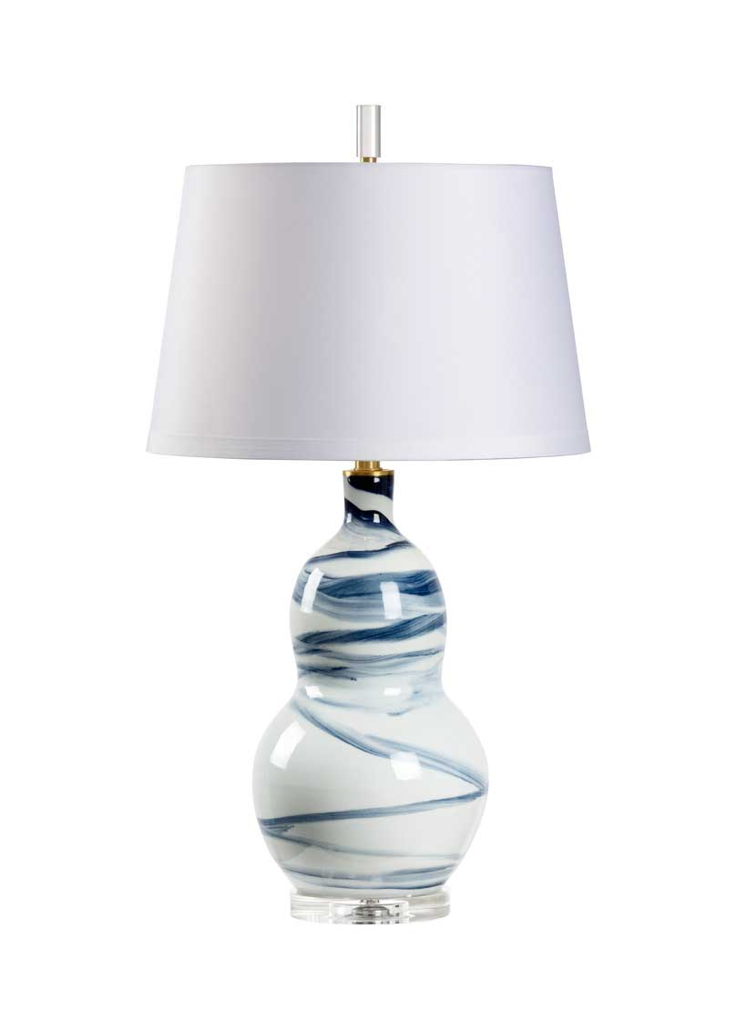 Isadora Table Lamp Blue Swirl Design on White Porcelain Base