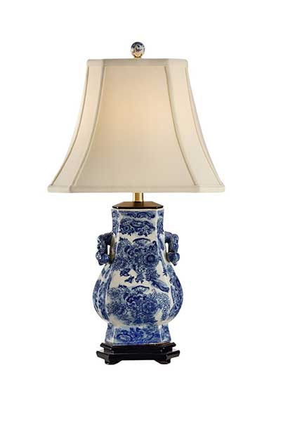 Blue Tang Lamp with hand painted blue floral motif and white crackle finish from Wildwood