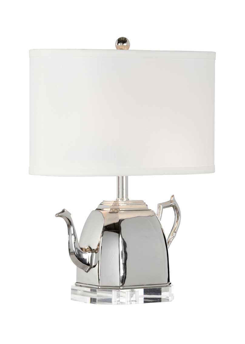 Spout Lamp Tea Pot Table Lamp Electric Ecelctic White Shade