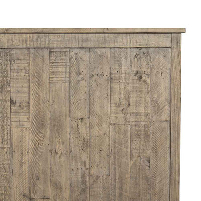 Wallace King Bed reclaimed pine in weathered ash Four Hands headboard detail